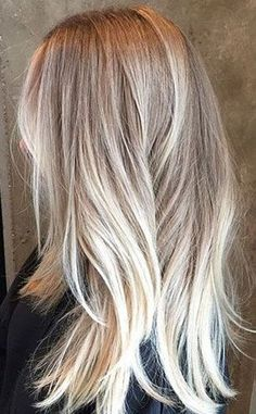 Thick Ash-Blonde Hair with White-Blonde Balayage and Short Straight Layers