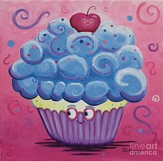 Mrs. Blue Cupcake Print by Jennifer Alvarez