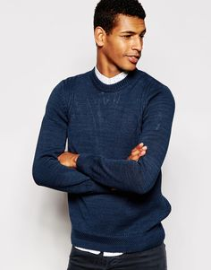 """Jumper by PS By Paul Smith Mid-weight knit Textured design Crew neck Ribbed trims Regular fit - true to size Hand wash 100% Cotton Our model wears a size Medium and is 188cm/6'2"""" tall"""