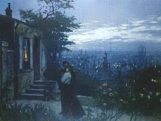 """trem-das-cores65: """"Two lovers in the garden on the background of Paris by Lionello Balestrieri (1872 - 1958) """""""