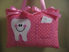 TOOTH FAIRY PILLOW  APPROX: 5 X 7  NO PERSONALIZATION WITH THIS ITEM, THESE ARE PRE-MADE AND READY TO SHIP.