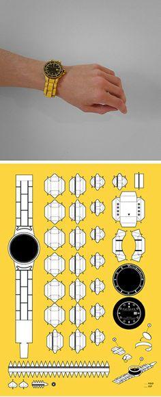 free printable DIY paper watch PDF by Matthew Nicholson