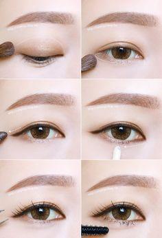 Korean Eye Makeup Tutorial (credits to: - Make Up Asian Makeup Looks, Korean Makeup Look, Korean Makeup Tips, Asian Eye Makeup, Korean Makeup Tutorials, Eyebrow Makeup, Makeup Eyeshadow, Makeup Eyebrows, Korean Makeup Tutorial Natural