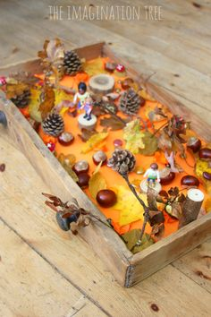 Autumn Woods Sensory Small World - The Imagination Tree Create an Autumn woods sensory small world play in a drawer for hours of fall themed imaginative play and lea Autumn Eyfs Activities, Nursery Activities, Fall Crafts, Crafts For Kids, Tuff Tray, Imagination Tree, Small World Play, Fall Preschool, Autumn Nature