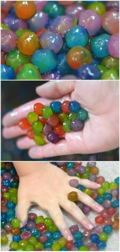 Edible water beads; a safer alternative to traditional water bead play. These are easy to make SO FUN!