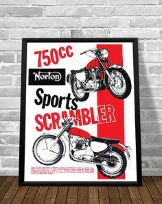 Affiche NORTON ATLAS SCRAMBLER 1964 - Garage Atelier Vintage - Limited Edition
