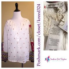 Mes Demoiselles Tops - MES DEMOISELLES PARIS Blouse Embroidered Peasant - Available in my #Poshmark closet in Size Small! Don't miss out on this limited time offer! #MesDemoiselles #MesDemoisellesParis #French #Pullover #Chic #City @Poshmark #FreePeople #Bohemian #ootd #Embroidered #sweaters #Shopping #ForSale #Gorgeous #Chic #Fashion #SouthernGirlFashion #Anthropologie