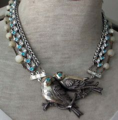 'lovebirds' vintage assemblage necklace with rhinestones and mother of pearl rosary by The French Circus, $179.00 Recycled Jewelry, Old Jewelry, Women Jewelry, Jewelry Art, Jewelry Necklaces, Beaded Jewelry, Vintage Jewelry, Strand Necklace, Jewelry Crafts