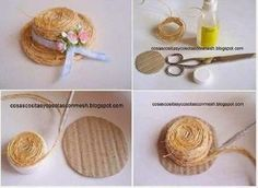 Straw hat how-to Diy Dollhouse, Dollhouse Miniatures, Bijoux Wire Wrap, Diy And Crafts, Crafts For Kids, Hat Crafts, Mini Craft, Bottle Cap Crafts, Barbie Patterns