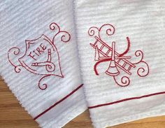 Fireman Fire Department / Embroidered Kitchen Hand Dish Towel Set  - Personalized Choose Your Design