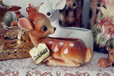 my mum's vintage Bambi planter. Vintage Planters, Vintage Vases, Vintage Ornaments, Vintage Pottery, Vintage Ceramic, Vintage Love, Vintage Antiques, Vintage Items, Vintage Cookies