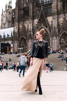 Shop this look on Kaleidoscope (skirt, jacket, necklace, boots)  http://kalei.do/WvlzsloPBpxodwMy