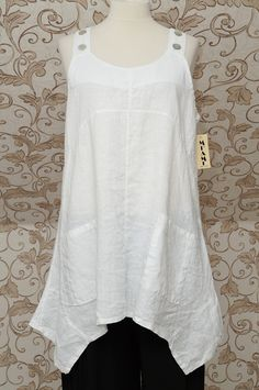 GORGEOUS WHITE 100% LINEN PINAFORE TUNIC/DRESS LAGENLOOK LONG TOP SO QUIRKY OSFA | eBay