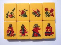 Vintage AP Games Mah Jong Set Flower Tiles