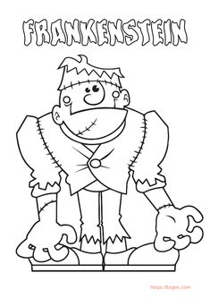 Cartoon Frankenstein Coloring Page For Kids Christmas Unicorn, Unicorn Halloween, Halloween Books, Coloring Apps, Coloring Pages For Kids, Adult Coloring, Instagram Logo, Kids Wallpaper, Lol Dolls