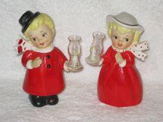 Vintage Christmas Boy & Girl figurines Hurrican Lanterns Lefton Napco glass globes. $75.00, via Etsy.