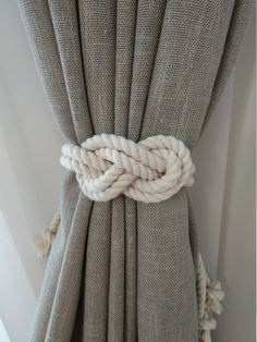 Rope Curtain Tie Back Nursery Curtain Gypsy Décor Boho Window Accessories Rope Curtain Tie Back Curtain Hooks Curtain Holdback Rustic TieBacks Cotton or jute macrame tie back is perfect home decor Rustic decor is hand made of eco materials. At photo Long Curtain Tie Backs Diy, Rope Curtain Tie Back, Rope Tie Backs, Curtain Ties, Diy Curtain Holdbacks, Beach Curtains, Cute Curtains, How To Make Curtains, Rustic Curtains