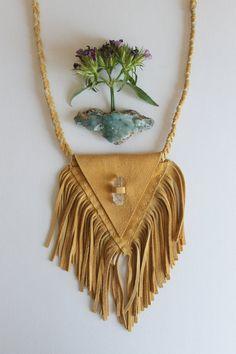 Leather Pyramid Fringe Medicine Bag by aquariansoul on Etsy, $75.00