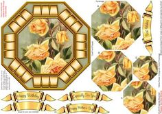 Yellow Roses Octagonal Frame Pyramage on Craftsuprint designed by Sandie Burchell - Beautiful 6.25 inch Octagonal Frame Topper with Pyramage. Sentiment Panels includes: Happy Birthday, Especially For You!, Happy Mother's Day, Best Wishes or Blank for your own peel-off lettering or stamp. There is also a Matching Insert for this design please see related sheets. I have many designs in this style with matching inserts - click on my name and type octagonal frame into my search box. Please take…