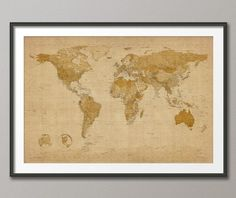 Antique Style Map of the World Map, Art Print, 24x36 inch (228). £24.99, via Etsy.