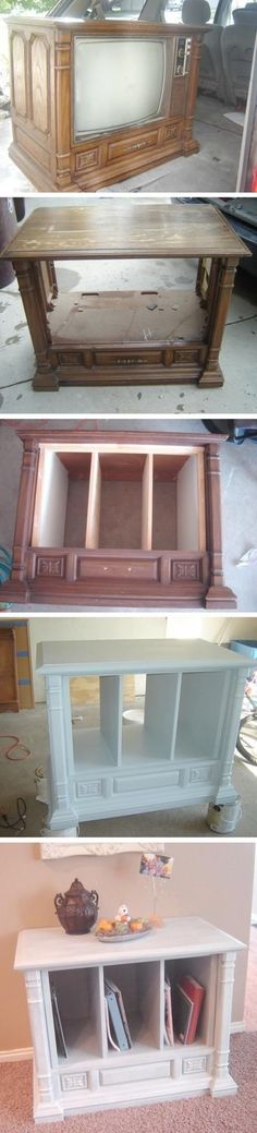 Old TV Turned Into Furniture An old tv turned into a living room hutch!An old tv turned into a living room hutch! Refurbished Furniture, Repurposed Furniture, Furniture Makeover, Painted Furniture, Hutch Makeover, Metal Furniture, Furniture Projects, Furniture Making, Home Projects