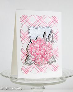 Pink, Grey, Silver Hello Create Your Own Background, Concord And 9th, Simon Says Stamp, Plaid Christmas, Greeting Cards Handmade, Old And New, Pink Grey, Cardmaking, Stampin Up