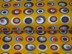 Jersey colourfull retro circles on yellow de Retro-Stoff-Cafe por DaWanda.com
