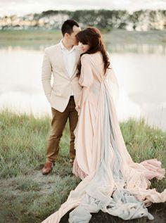 dreamy blush + grey gown