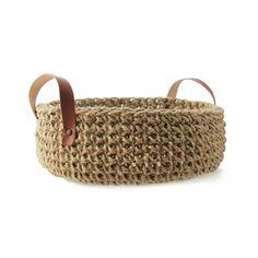 Image of Jute basket with leather handles