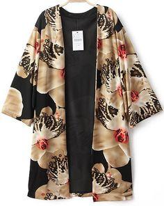 Black Vintage Floral Loose Cape Blouse - Sheinside.com $25