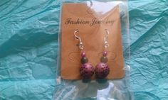 Black and pink spotty beaded drops