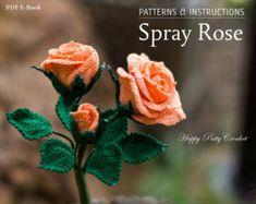 Rosa patrón de ganchillo ganchillo Flor por HappyPattyCrochet