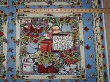 """Susan Winget """"Flowers Are Our Friends"""" Fabric Pillow Panels Set of 4"""