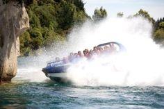 Lake Taupo Hukafalls fast jet boat ride to Taupo's Huka Falls, 360 degree spins past the Huka prawn park, Aratia Dam & Wairaki Thermal Power Station Thermal Power Station, Boat Companies, Jet Boat, State Art, Niagara Falls, New Zealand, Closer, Boats, Trees