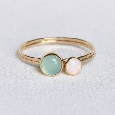 SOLID 14k Gold Set of Two Natural Fiery AAA Opal and by MARYJOHN