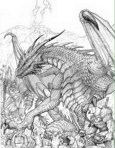 Dragon Fantasy Myth Mythical Mystical Legend Dragons Wings Sword Sorcery Magic Coloring pages colouring adult detailed advanced printable Kleuren voor volwassenen coloriage pour adulte anti-stress kleurplaat voor volwassenen Line Art Black and White Drache drago Дракон  drak dragão
