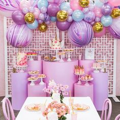 Unicorn Party featuring our gorgoues custom coloured balloons.... Cake and desserts by @lamannapatisserie styling by @ohferi_eventstyling custom coloured plinths and screen by @thebigletterco @monkeephoto  #melbourneballoons #balloonsmelbourne #unicornparty