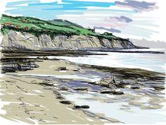 Craig Longmuir, 'Robin Hoods Bay', iPad drawing