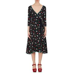 Marc Jacobs Women's Floral-Print Silk Jacquard Wrap Dress ($695) ❤ liked on Polyvore featuring dresses, black, silk floral dress, floral jacquard dress, wrap dresses, jacquard dress and long sleeve wrap dress