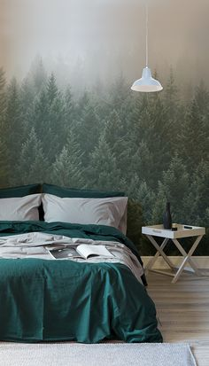 Just in time for winter, these moody forest wallpapers are perfect for bringing calm into bedroom spaces. Combine with grey hues for a truly relaxing setting.