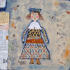 It's Not Easy Being a Princess collage on canvas 12x12 ©Barbara OLsen