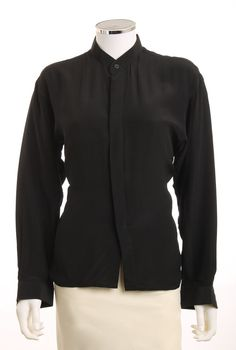 Bocci Black 100 Silk Long Sleeve Hidden Button by LondonCouture, $30.00
