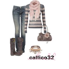 Gray and pink always click. Warm and fuzzy.; Great Saturday afternoon Fall/Winter outfit, stylish yet cozy.