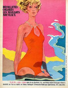 Antonio (Drawings) 1967 Emmanuelle Khanh for Erès Swimwear Vintage advert Women's fashion illustrated by Antonio (Illustrator)   Hprints.com