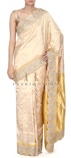 Buy this Lime yellow saree features in kundan border only on Kalki