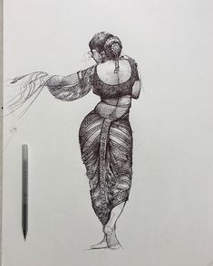 Human Figure Sketches, Girl Drawing Sketches, Girly Drawings, Pen Sketch, Pencil Art Drawings, Drawing Ideas, Dance Paintings, Indian Art Paintings, Ballpoint Pen Art