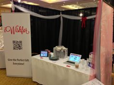Our iWishfor booth at the Wedding Fair in Vancouver, B. Conference Board, Wedding Fair, Vancouver, Company Logo, Logos, Gifts, Presents, Logo, Favors