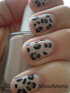 Love it! I did this, but for the leopard spots I used Sally Hansen, black and gold nail art pens. Worked perfectly!