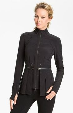 A big trend coming up for Fall is the Peplum Jacket ($138). Here's an example that will pass in the studio or zip off for your run, but will look just as in style on the streets.