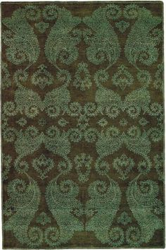 Dark Green Color Rug With Awesome Design And Patterns